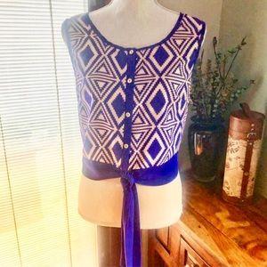 💕3/$25‼️💕Blue Rain Blouse Front Waist Tie
